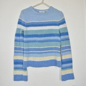 Blue Striped Chenile Sweater